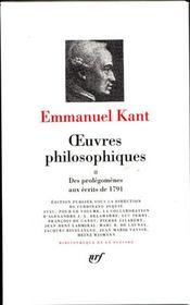 Oeuvres philosophiques t.2 ; des prolégomènes aux écrits de 1791 - Intérieur - Format classique