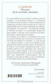 Discours De La Servitude Volontaire - 4ème de couverture - Format classique