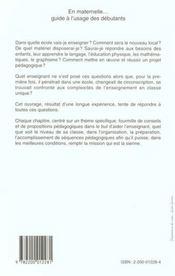 En Maternelle, Guide A L'Usage Des Debutants - 4ème de couverture - Format classique