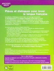 Pièces et dialogues pour jouer la langue française - 4ème de couverture - Format classique