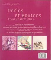 Perles Et Boutons Bijoux Et Accessoires - 4ème de couverture - Format classique