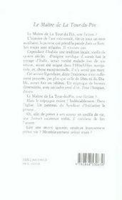 Maitre de la tour du pin (le) - 4ème de couverture - Format classique