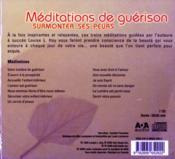 Méditations de guérison - 4ème de couverture - Format classique