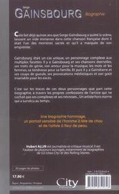 Serge gainsbourg, la biographie - 4ème de couverture - Format classique