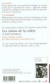Les Raisins De La Colere De John Steinbeck (Essai Et Dossier) - 4ème de couverture - Format classique