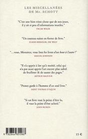 Les miscellanées de mr. Schott - 4ème de couverture - Format classique