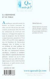 La grossesse et le tabac (2e ed) - 4ème de couverture - Format classique