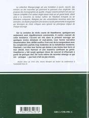 Nathaniel Hawthorne Contes Et Nouvelles Le Territoire Du Presque Litterature Anglo-Saxonne - 4ème de couverture - Format classique