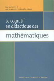 Le cognitif en didactique des mathématiques - Intérieur - Format classique