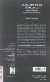 Écritures de la résistance ; le journal intime sous le troisième reich - 4ème de couverture - Format classique