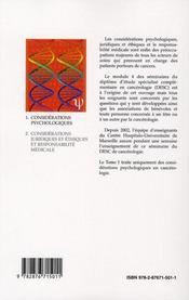 Considérations psychologiques en cancerologie - 4ème de couverture - Format classique