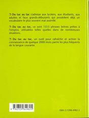 Du Tac Au Tac Anglais Plus De 1500 Phrases Pretes A L'Emploi - 4ème de couverture - Format classique
