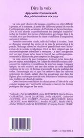 Dire La Voix ; Approche Transversale Des Phenomenes Vocaux - 4ème de couverture - Format classique