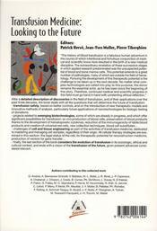 Transfusion medicine : looking to the future - 4ème de couverture - Format classique