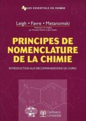 Principes de nomenclature de la chimie - Couverture - Format classique