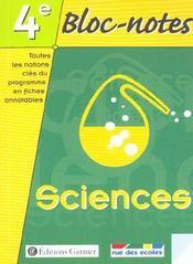Bloc notes sciences 4e - Intérieur - Format classique