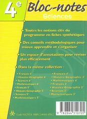 Bloc notes sciences 4e - 4ème de couverture - Format classique