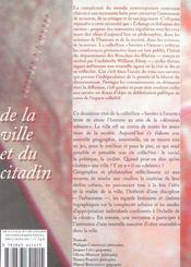 De La Ville Et Du Citadin - 4ème de couverture - Format classique