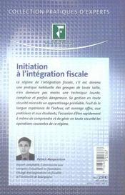 Initiation a l'integration fiscale - 4ème de couverture - Format classique
