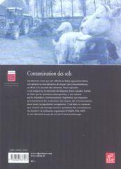 Contamination des sols ; transferts des sols vers les animaux - 4ème de couverture - Format classique