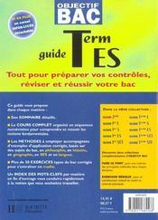 Objectif Bac ; Toutes Les Matières En Un Seul Volume, Terminale Es - 4ème de couverture - Format classique