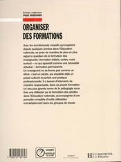 Organiser des formations - 4ème de couverture - Format classique