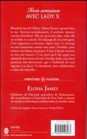 Les duchesses T.7 ; trois semaines avec Lady X - 4ème de couverture - Format classique