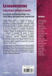 La nanomédecine ; enjeux éthiques, juridiques et normatifs - 4ème de couverture - Format classique
