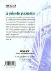 Guide De Vos Placements 1999 - 4ème de couverture - Format classique