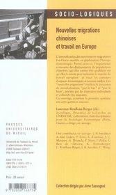 Nouvelles migrations chinoises et travail en europe - 4ème de couverture - Format classique