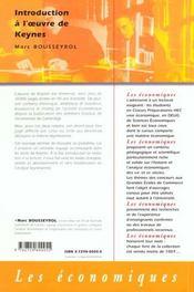 Introduction A L'Oeuvre De Keynes - 4ème de couverture - Format classique