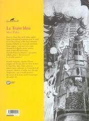 Agatha Christie t.11 ; le train bleu - 4ème de couverture - Format classique