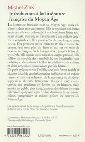 Introduction a la litterature francaise du moyen age - inedit - 4ème de couverture - Format classique