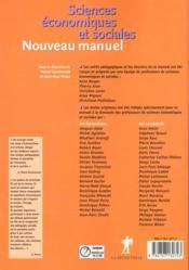 Nouveau Manuel De Sciences Economiques Et Sociales Terminale Es - 4ème de couverture - Format classique