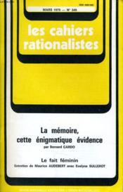 Les Cahiers Rationalistes N°349 - La Memoire Cette Enigmatique Evidence - Couverture - Format classique