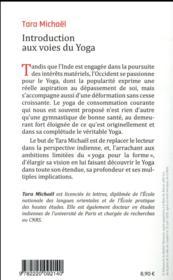 Introduction aux voies du yoga - 4ème de couverture - Format classique