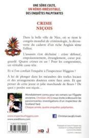 Les enquêtes de l'inspecteur Higgins T.35 ; crime niçois - 4ème de couverture - Format classique