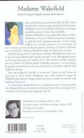 Madame Wakefield - 4ème de couverture - Format classique