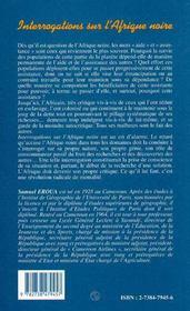 Interrogations sur l'Afrique noire - 4ème de couverture - Format classique
