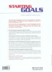 Cap ; Starting Goals - 4ème de couverture - Format classique