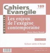 Cahiers de l'Evangile N.189 ; les enjeux de l'exégèse contemporaine - Couverture - Format classique