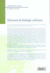 Elements de biologie cellulaire (3e édition) - 4ème de couverture - Format classique