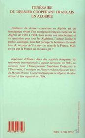 Itineraire Du Dernier Cooperant Francais En Algerie - 4ème de couverture - Format classique