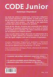 Code Junior ; Les Droits Et Obligations Des Moins De 18 Ans - 4ème de couverture - Format classique