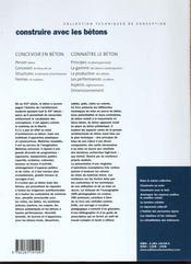 Construire Avec Les Betons - 4ème de couverture - Format classique