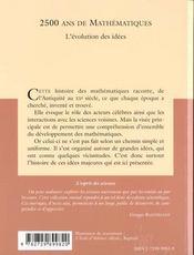 2500 Ans De Mathematiques L'Evolution Des Idees No3 - 4ème de couverture - Format classique