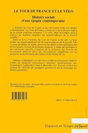 Le Tour De France Et Le Velo - 4ème de couverture - Format classique