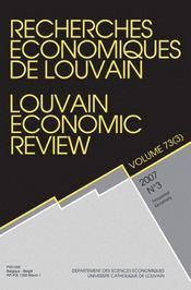 Revue Recherches Economiques De Louvain N.73/3 - Intérieur - Format classique