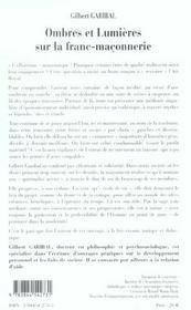 Ombres Et Lumieres Sur La Franc-Maconnerie - 4ème de couverture - Format classique