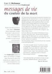 Messages de vie du couloir de la mort - 4ème de couverture - Format classique